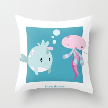 little-pufflefish-and-jellyfish-pillows